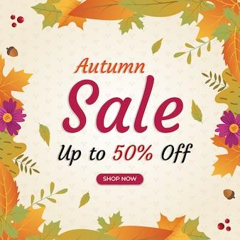Bannière de remise carrée vente automne