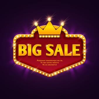 Bannière de remise casino grande vente avec chapiteau s'allume illustration vectorielle.