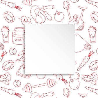 Bannière de remise en forme avec motif de gym dessiné à la main et assiette en papier 3d.