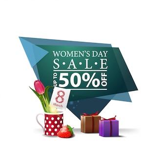 Bannière de remise géométrique moderne à la journée de la femme