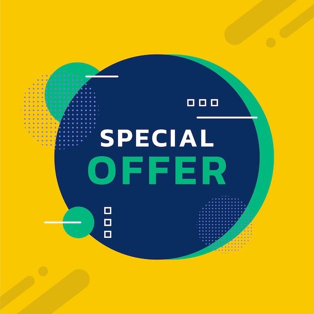 Bannière de remise d'offre spéciale avec vecteur de conception de modèle de couleur jaune