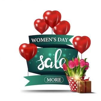 Bannière de remise verte moderne à la journée de la femme