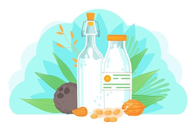 Bannière de remplacement du lait avec arachide et noix de coco