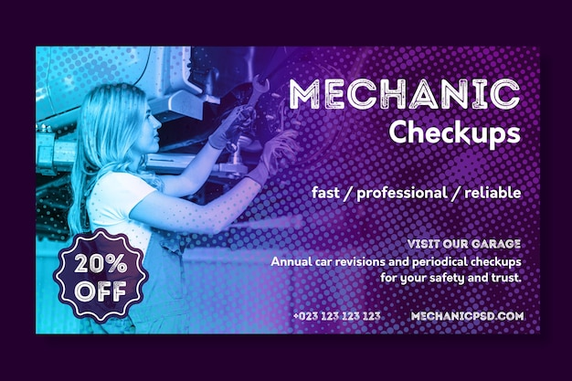 Bannière de réparation automobile mécanicien