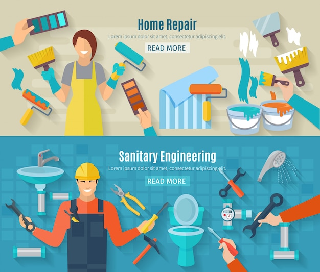Bannière de réparation domiciliaire avec éléments de travaux de rénovation et de construction