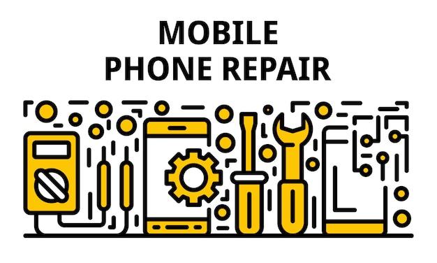 Bannière de réparation de téléphone portable, style de contour