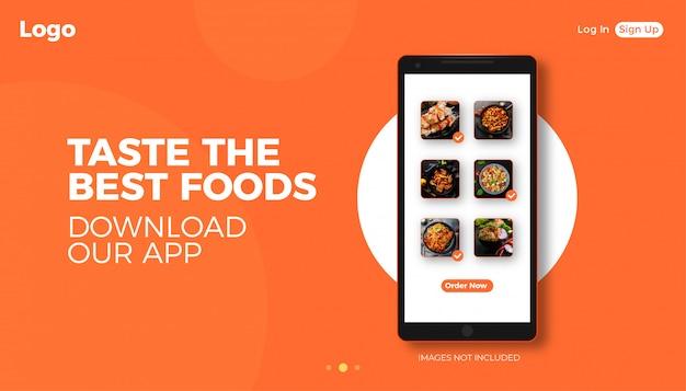 Bannière de réseau alimentaire avec un design de téléphone réaliste