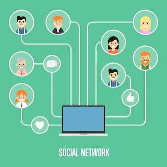 Bannière de réseau social avec des personnes connectées