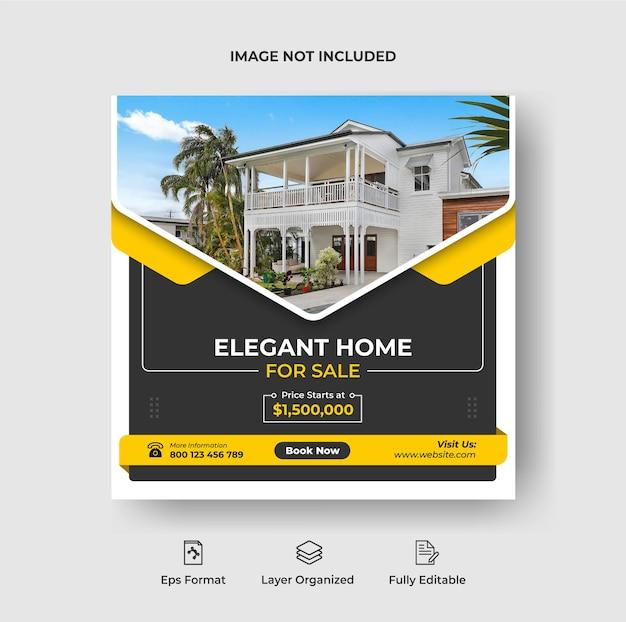 Bannière de réseaux sociaux immobiliers ou publication instagram et modèle d'affiche de flyer carré vecteur premium