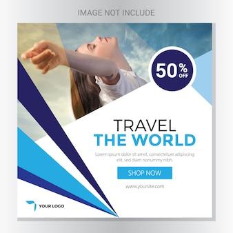 Bannière des réseaux sociaux de voyage