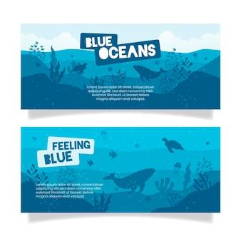 Bannière de restaurant bleu océan