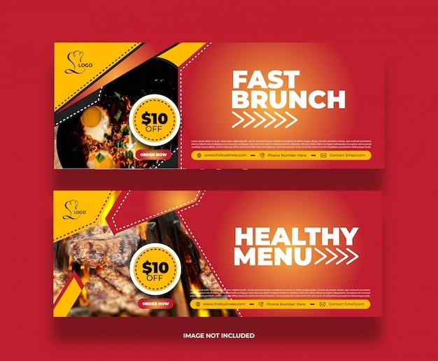 Bannière de restaurant créatif minimal rapide brunch alimentaire