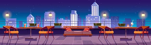 Bannière avec restaurant la nuit sur le toit avec vue sur la ville