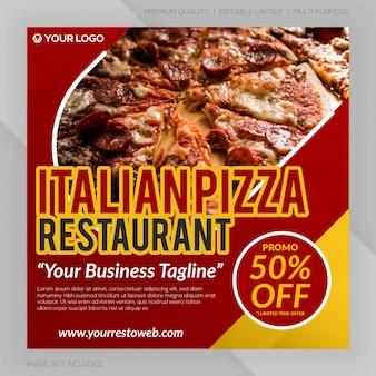 Bannière de restaurant de pizza italienne