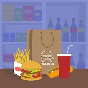 Bannière avec restauration rapide avec illustration vectorielle de cola, hamburger et frites
