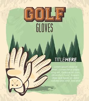 Bannière rétro de club de golf avec des gants