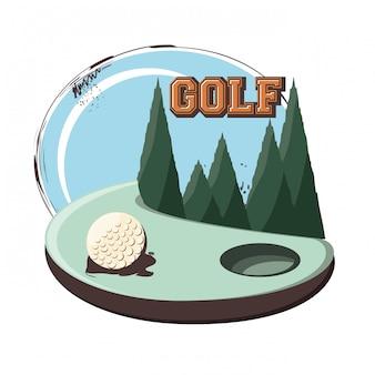 Bannière rétro du club de golf avec ballon