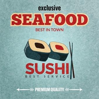 Bannière rétro du meilleur service de fruits de mer sushi