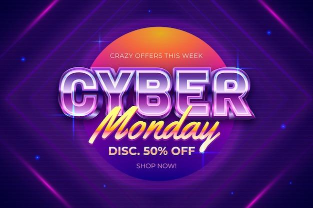 Bannière rétro futuriste bannière cyber lundi