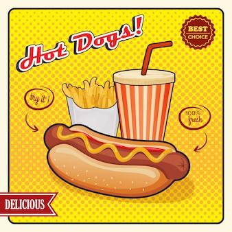 Bannière rétro de hot dogs comic style