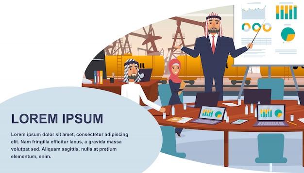 Bannière réunion de gestion d'une compagnie pétrolière