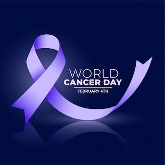 Bannière ribbconcept de la journée mondiale contre le cancer