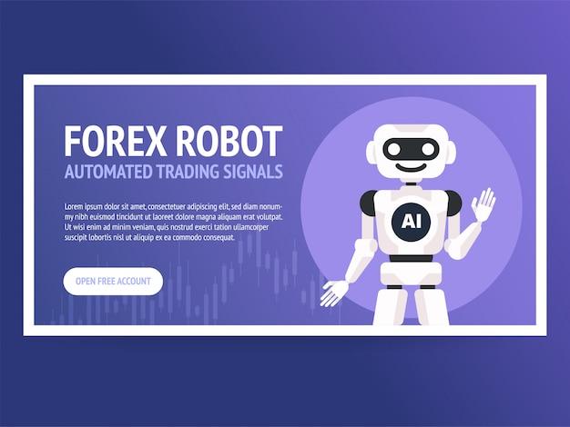 Bannière robot de négociation en bourse,