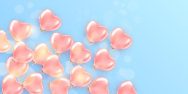 Bannière romantique avec coeurs
