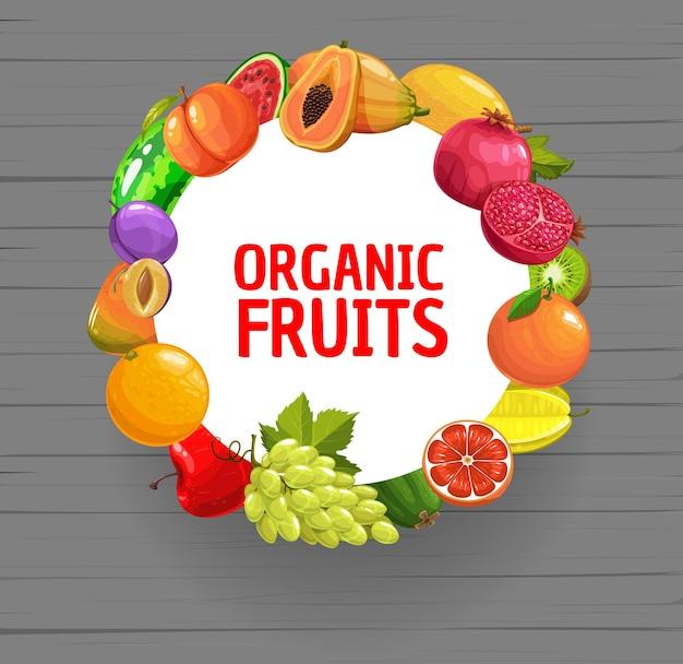 Bannière ronde de dessin animé de mélange de fruits biologiques frais