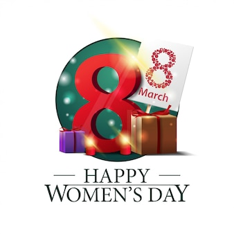 Bannière ronde de la fête des femmes avec des cadeaux avec le numéro huit