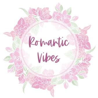 Bannière ronde avec fleurs de printemps, gardénias et jasmin, texture aquarelle abstraite, illustration aquarelle dessinée à la main.
