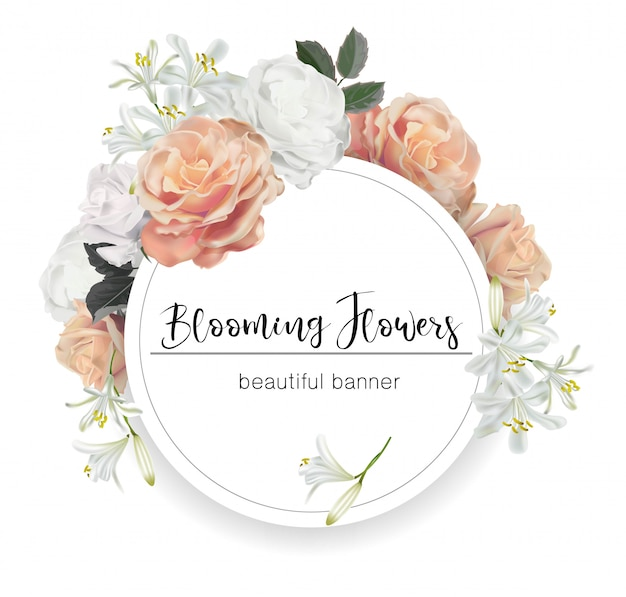 Bannière ronde avec illustration vectorielle de roses