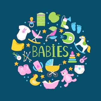 Bannière ronde ou avec de jolis accessoires pour bébés