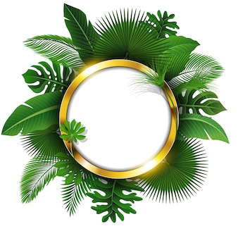 Bannière ronde d'or avec l'espace de texte des feuilles tropicales.