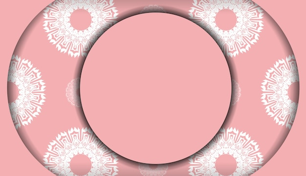 Bannière rose avec ornement blanc vintage pour la conception sous votre logo ou texte
