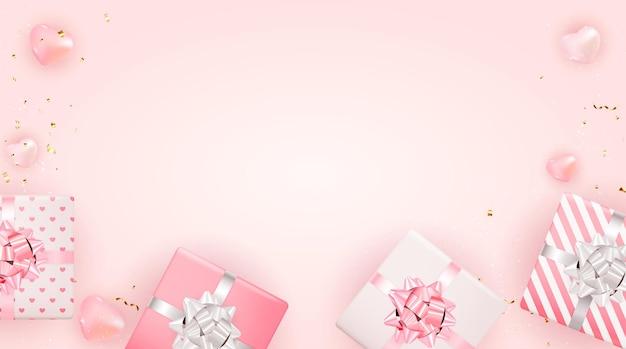 Bannière rose de la saint-valentin avec des coeurs et des cadeaux