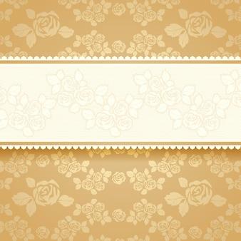 Bannière de roses dorées