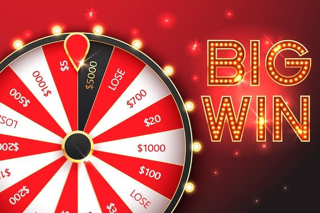 Bannière de roue de fortune de rotation de casino. roulette, jackpot big win.