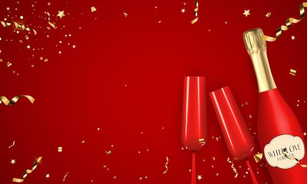 Bannière rouge abstraite avec des confettis et ruban d'or, bouteille de champagne et verre.