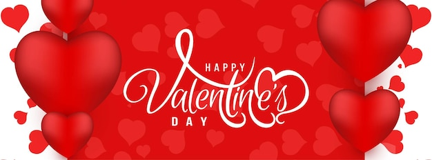 Bannière rouge d'amour élégant de la saint-valentin heureuse