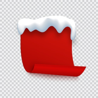 Bannière rouge avec bonnet de neige