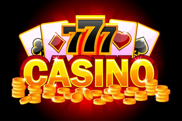 Bannière rouge de casino avec symboles poker