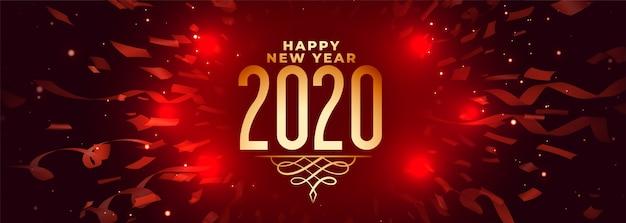 Bannière rouge de célébration 2020 bonne année avec des confettis