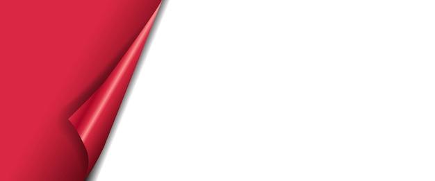 Bannière rouge avec coin fond blanc