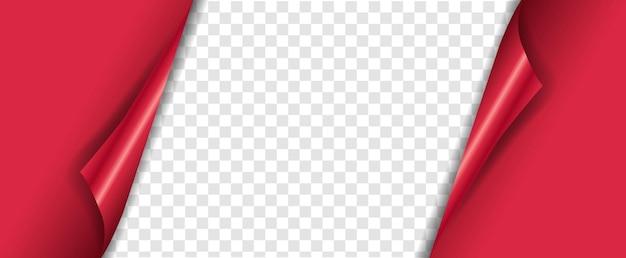 Bannière rouge avec fond transparent de coins