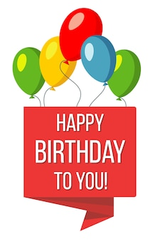 Bannière rouge joyeux anniversaire et ballons vector illustration