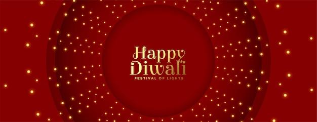 Bannière rouge joyeux diwali avec décoration de lumières