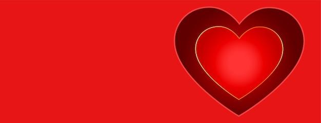 Bannière rouge joyeux saint valentin avec conception de coeur