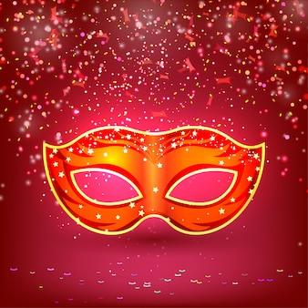Bannière rouge avec masque de carnaval théâtral.