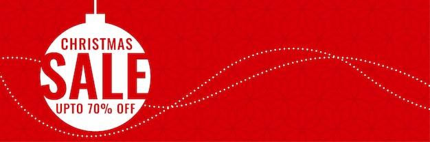 Bannière rouge de vente de festival de noël minimal